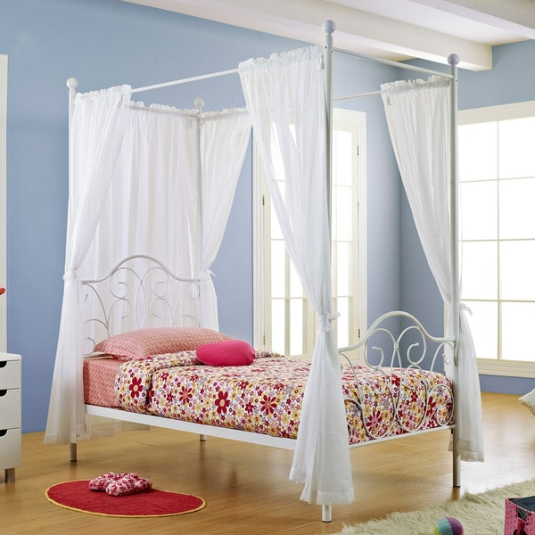 white metal twin size canopy bed with curtains 14099042 overstock