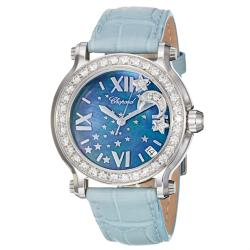 Chopard Women's 'Happy Sport Round' Blue Mother of Pearl Dial Watch