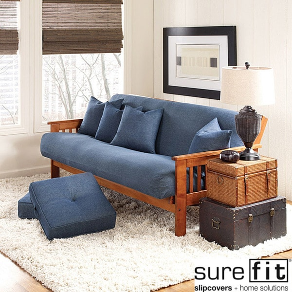 Sure Fit Cotton Denim Futon Cover Overstock Shopping