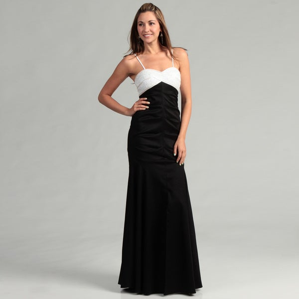 Hailey Adrianna Papell White/ Black Beaded Gown