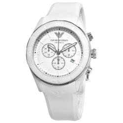 Emporio Armani Men's 'Ceramic' AR1435 White Silicone Strap Chronograph Watch