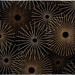Hand-tufted Brown Contemporary Bawal Wool Abstract Rug (9'9 Square)