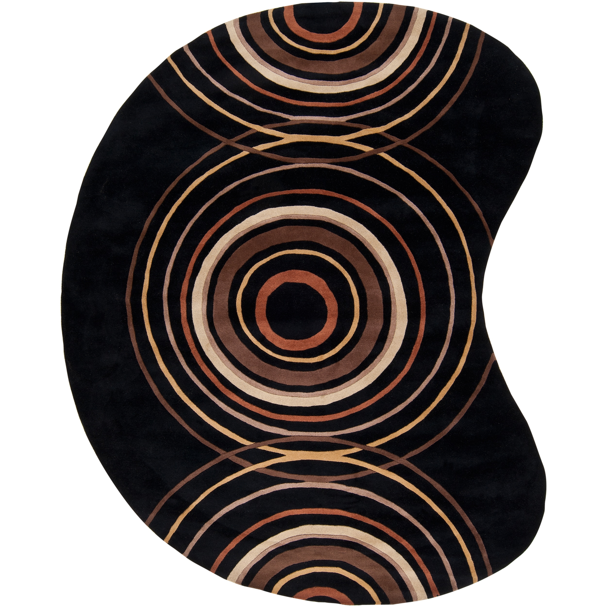 Hand-tufted Black Contemporary Circles Bali Wool Geometric Rug (6' x 9' Kidney)