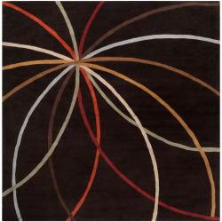 Hand-tufted Black Contemporary Cheeka Wool Abstract Rug (9'9 Square)