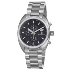 Emporio Armani Men's 'Sport' Black Chrono Dial Stainless Steel Watch