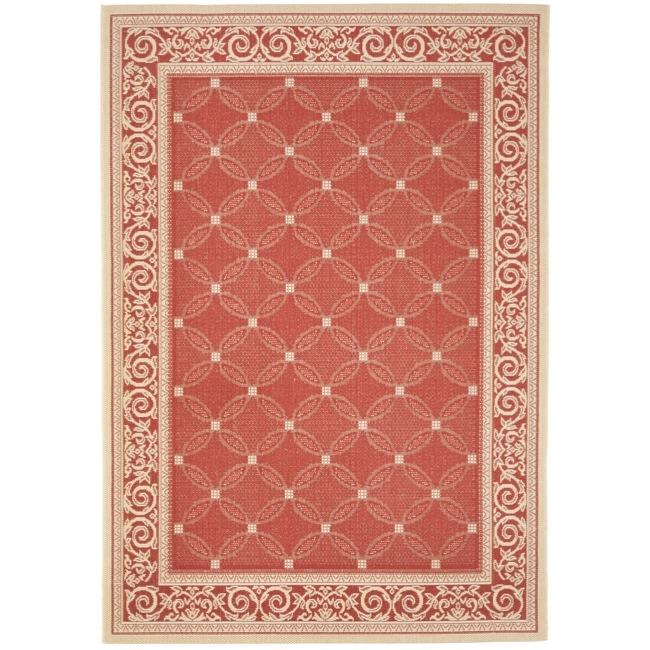"""Safavieh Red/Natural Indoor/Outdoor Rectangular Rug (4' x 5'7"""")"""