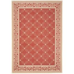 "Red/Natural Indoor/Outdoor Rectangular Rug (4' x 5'7"")"