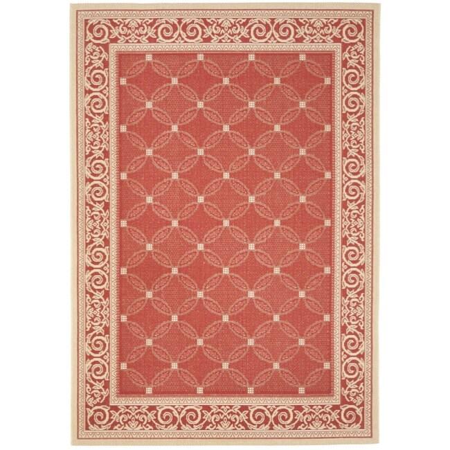 Safavieh Indoor Outdoor Area Red/ Natural Rug (5'3 x 7'7)