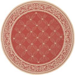 Safavieh Geometric Indoor/ Outdoor Red/ Natural Rug (6'7 Round)