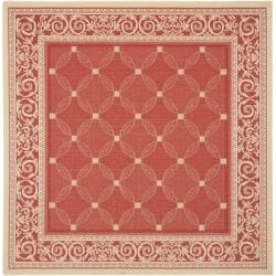 Safavieh Geometric Red/ Natural Indoor/ Outdoor Rug (7'10 Square)