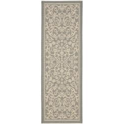 "Gray/Natural Indoor/Outdoor Geometric Rug (2'4"" x 9'11"")"