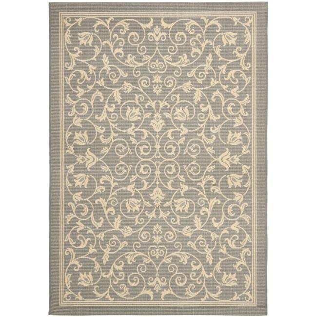 Safavieh Geometric Gray/ Natural Indoor/ Outdoor Rug (5'3 x 7'7)