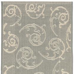 Grey/ Natural Indoor Outdoor Rug (2'4 x 9'11)