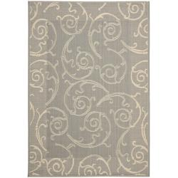 Contemporary Gray/Natural Indoor/Outdoor Rug (9' x 12')