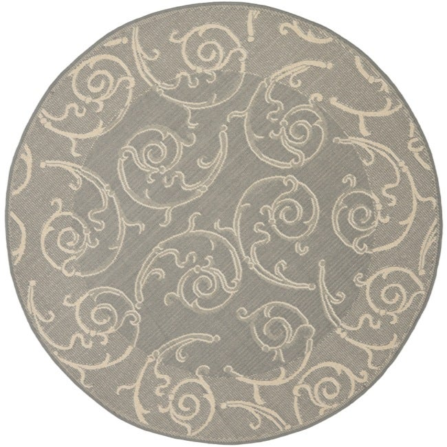 Safavieh Grey/ Natural Indoor Outdoor Rug (5'3 Round)