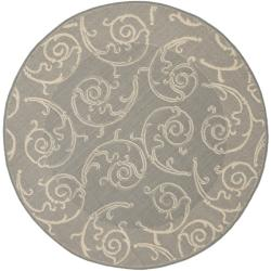 Grey/ Natural Indoor Outdoor Rug (5'3 Round)