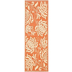 Terracotta/ Natural Indoor Outdoor Rug (2'4 x 9'11)