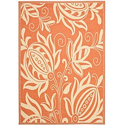 Terracotta/ Natural Indoor Outdoor Rug (5'3 x 7'7)