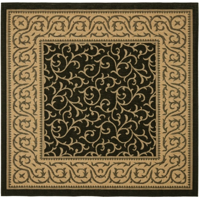 Indoor Outdoor Rugs Square: Safavieh Black/ Natural Indoor Outdoor Rug (6'7 Square