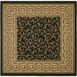 Safavieh Black/ Natural Indoor Outdoor Rug (6'7 Square)