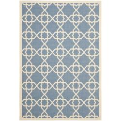 "Blue/ Beige Indoor/ Outdoor Polypropylene Area Rug (6'7"" x 9'6"")"