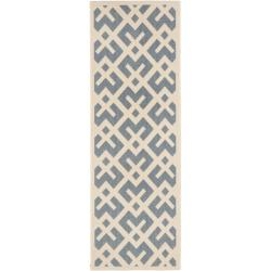 Blue/ Bone Indoor Outdoor Rug (2'4 x 9'11)