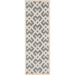 Blue/ Bone Indoor Outdoor Rug (2'4 x 9'11)