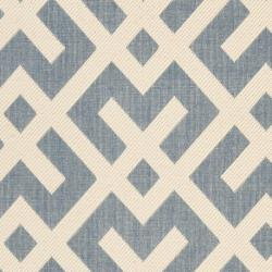 Blue/ Bone Indoor Outdoor Rug (4' x 5'7)