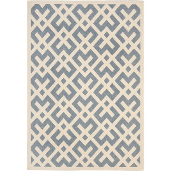 Safavieh Blue/ Bone Indoor Outdoor Rug (5'3 x 7'7)
