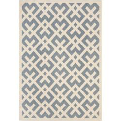 Blue/ Bone Indoor Outdoor Rug (5'3 x 7'7)