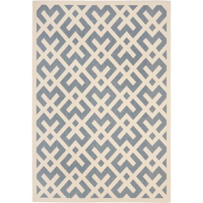 Safavieh Blue/ Bone Indoor Outdoor Rug (8' x 11'2)