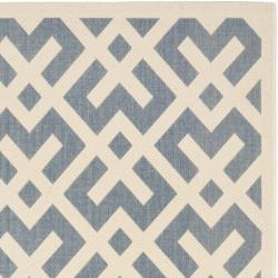 Blue/ Bone Indoor Outdoor Rug (8' x 11'2)