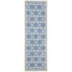 Blue/ Beige Indoor Outdoor Rug (2'4 x 9'11)