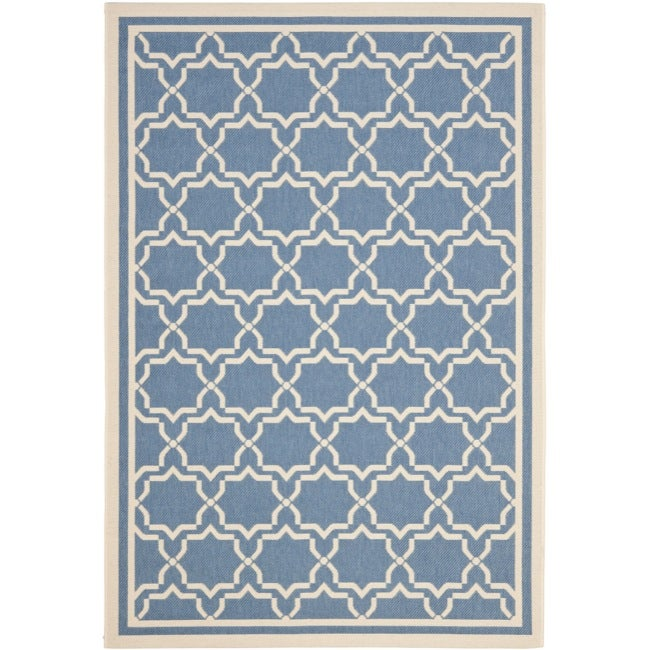 Safavieh Blue/ Beige Indoor Outdoor Rug (4' x 5'7)