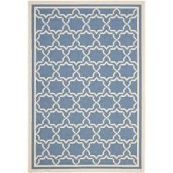 Blue/ Beige Indoor Outdoor Rug (6'7 x 9'6)