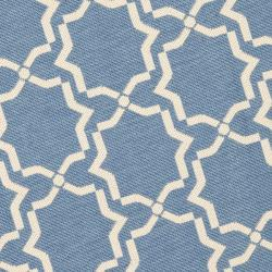 Blue/ Beige Indoor Outdoor Rug (5'3 Round)