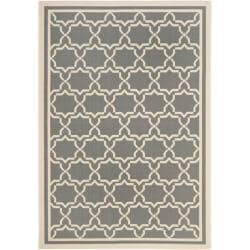 "Dark Grey/ Beige Indoor Outdoor Polypropylene Rug (8' x 11' 2"")"