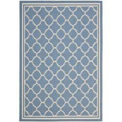 Blue/Beige Trellis Indoor/Outdoor Rug (4' x 5'7)