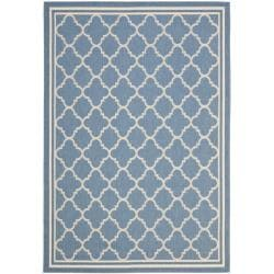 Blue/Beige Polypropylene Indoor/Outdoor Rug (5'3