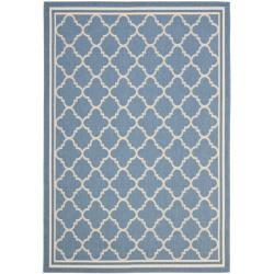"Blue/ Beige Indoor/ Outdoor Powerloomed Rug (6'7"" x 9'6"")"