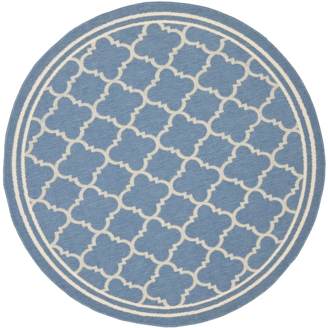 Safavieh Contemporary Blue Beige Indoor Outdoor Rug 5 3