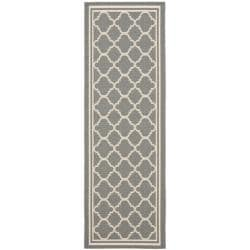 Safavieh Dark Grey/ Beige Indoor Outdoor Rug (2'4 x 9'11)