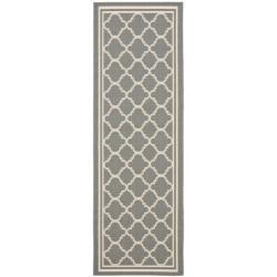 "Dark Grey/ Beige Indoor Outdoor Geometric Rug (2' 4"" x 6' 7"")"