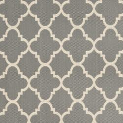 Dark Grey/ Beige Indoor Outdoor Rug (5'3 x 7'7)