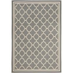 Safavieh Dark Grey/ Beige Indoor Outdoor Rug (5'3 x 7'7)