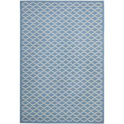 Blue/Beige Indoor/Outdoor Geometric Rug (5'3