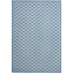 """Safavieh Blue/ Beige Geometric Element-Resistant Indoor/ Outdoor Rug (6'7"""" x 9'6"""")"""