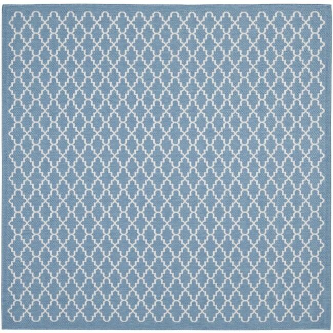 Safavieh Blue Beige Indoor Outdoor Polypropylene Rug 6 7