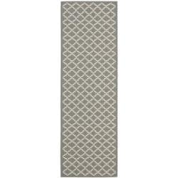 Dark Grey/ Beige Indoor Outdoor Rug (2'4 x 6'7)