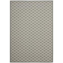 "Dark Grey/ Beige Indoor Outdoor Geometric Rug (8' x 11' 2"")"